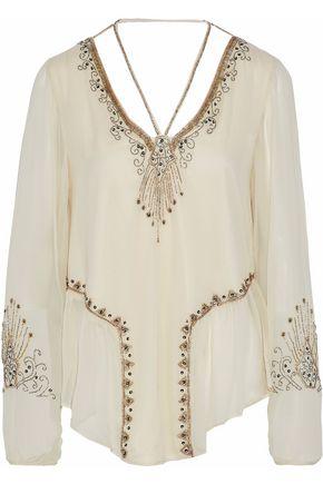 HAUTE HIPPIE Beaded silk-georgette blouse