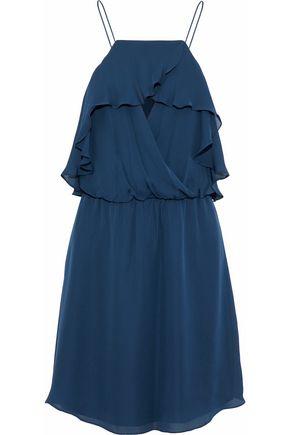 HAUTE HIPPIE Sunbird wrap-effect ruffled chiffon mini dress