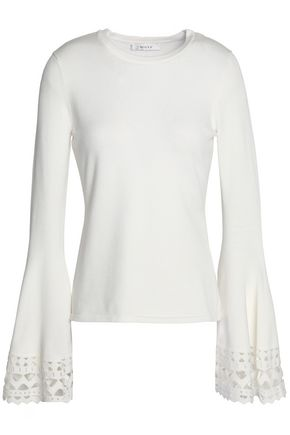 MILLY Fluted laser-cut stretch-knit top