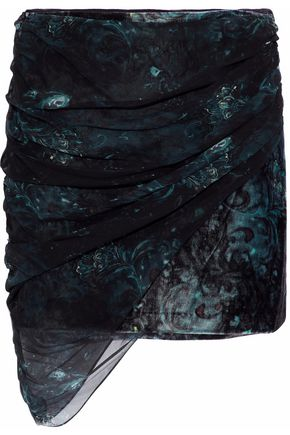 HAUTE HIPPIE Strapless ruched printed chiffon top