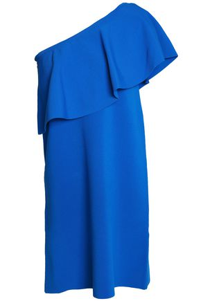 MILLY One-shoulder ruffled ponte mini dress