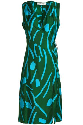 DIANE VON FURSTENBERG Printed silk-twill wrap dress
