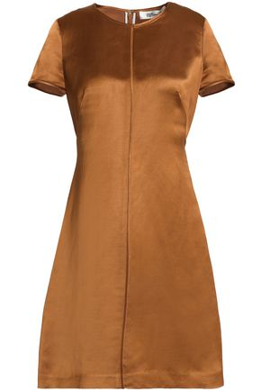 DIANE VON FURSTENBERG Linen-blend shantung mini dress