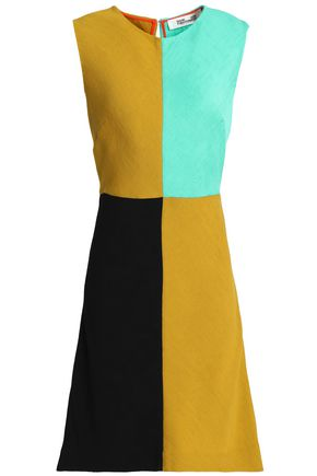 DIANE VON FURSTENBERG Color-block ribbed-knit mini dress