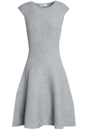 MILLY Flared mélange ribbed-knit dress