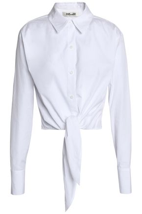 DIANE VON FURSTENBERG Tie-front cotton-poplin shirt