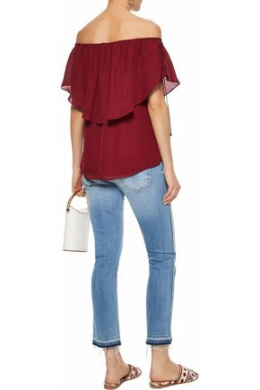 HAUTE HIPPIE Off-the-shoulder layered silk crepe de chine blouse