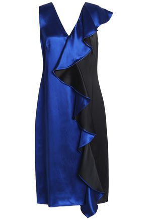 DIANE VON FURSTENBERG Draped ruffled satin dress