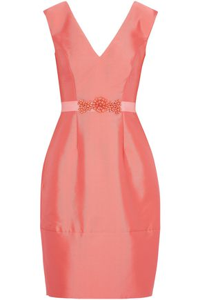 MIKAEL AGHAL Grosgrain-trimmed embellished satin-twill dress