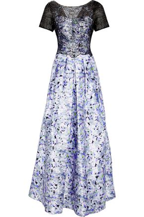 MIKAEL AGHAL Embellished lace-paneled floral-print satin-twill gown