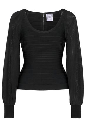 HERVÉ LÉGER Open knit-paneled bandage top
