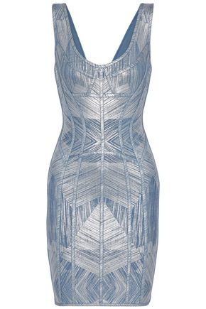 Nannette Metallic Printed Bandage Dress by HervÉ LÉger
