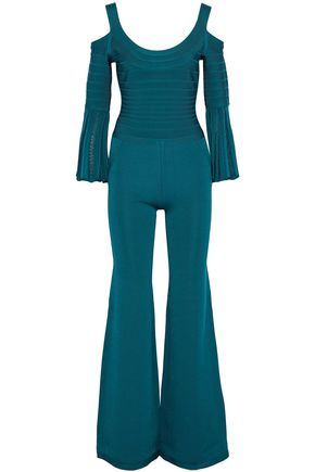 HERVÉ LÉGER Yuna cold-shoulder bandage and stretch-knit jumpsuit