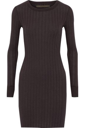 ENZA COSTA Ribbed cotton and cashmere-blend mini dress