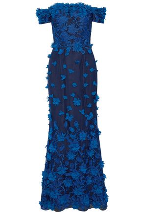 MARCHESA NOTTE Off-the-shoulder appliquéd embroidered tulle gown