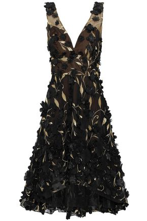 MARCHESA NOTTE Floral-appliquéd metallic embroidered tulle dress