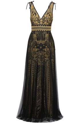 c8de830b106 MARCHESA NOTTE Embellished metallic embroidered tulle gown ...