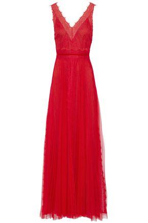 MARCHESA NOTTE Chantilly lace-trimmed plissé-tulle gown