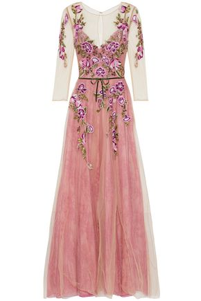 MARCHESA NOTTE Embellished tulle and lace gown