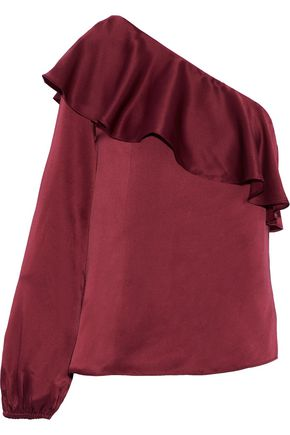 CAMI NYC Abigail one-shoulder ruffled silk-satin blouse