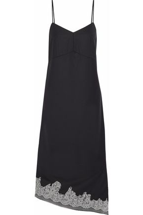 TIBI Lou Lou corded lace-trimmed crepe dress
