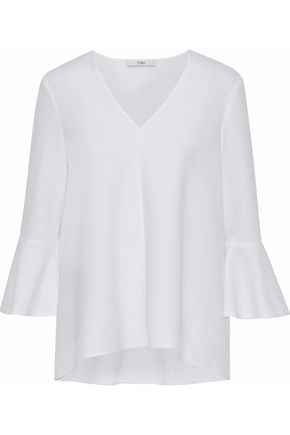 TIBI Fluted crepe blouse