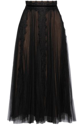MARCHESA NOTTE Velvet and lace-trimmed pleated tulle midi skirt