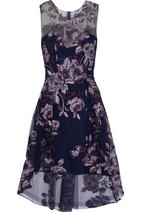 MARCHESA NOTTE Asymmetric embellished tulle mini dress