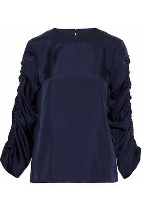 TIBI Mendini ruched satin-twill blouse