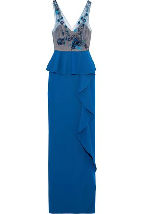 MARCHESA NOTTE Embellished tulle-paneled ruffled stretch-knit gown