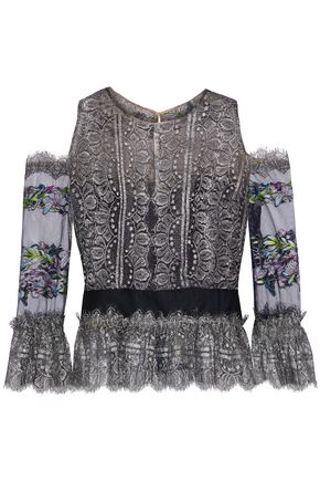 MARCHESA NOTTE Cold-shoulder embroidered tulle-paneled metallic lace top