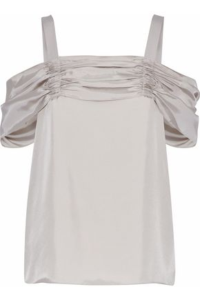 TIBI Cold-shoulder ruched twill top