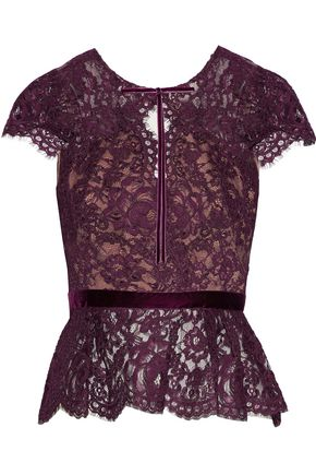 MARCHESA NOTTE Bow-detailed cutout corded lace top