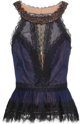 MARCHESA NOTTE Lace-paneled pleated tulle peplum top