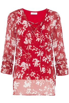 BAILEY 44 Cherry Blossom lace-up floral-print chiffon blouse