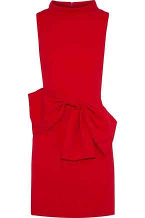 BADGLEY MISCHKA Bow-embellished crepe mini dress