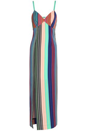 DIANE VON FURSTENBERG Cutout striped crepe maxi dress