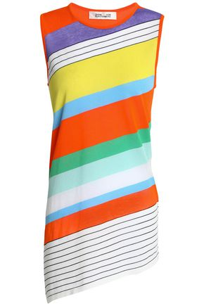 DIANE VON FURSTENBERG Asymmetric striped cotton-blend top