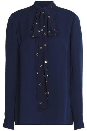 MICHAEL MICHAEL KORS Pussy-bow eyelet-embellished silk blouse