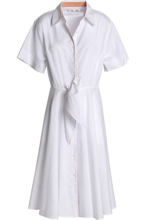 DIANE VON FURSTENBERG Tie-front pleated cotton-poplin shirt dress