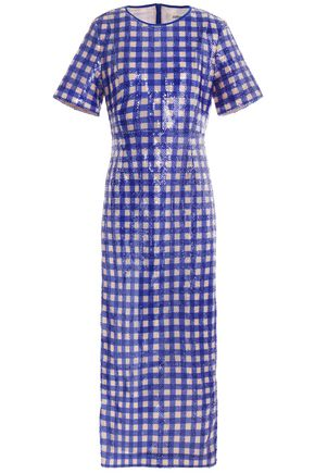 DIANE VON FURSTENBERG Sequined gingham crepe de chine midi dress