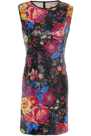 DIANE VON FURSTENBERG Sequined floral-print crepe de chine mini dress