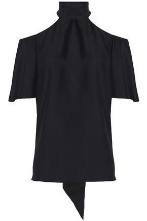 TEMPERLEY LONDON Cold-shoulder silk-twill blouse