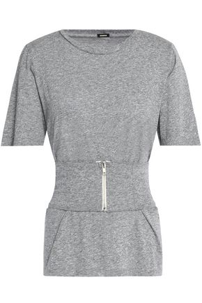 MONROW Belted mélange jersey T-shirt