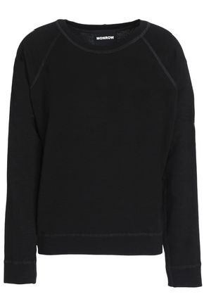 MONROW Metallic-trimmed French terry sweatshirt