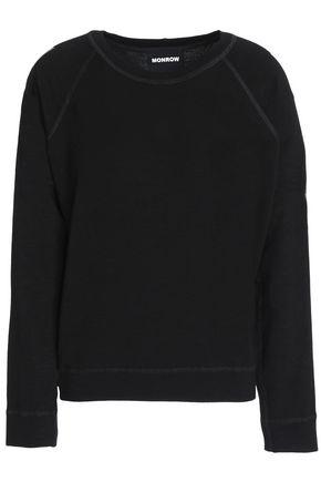 MONROW Metallic-trimmed French terry sweatshirt