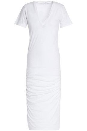 MONROW Ruched slub cotton-jersey dress