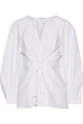 TIBI Lace-up satin-trimmed cotton-poplin top