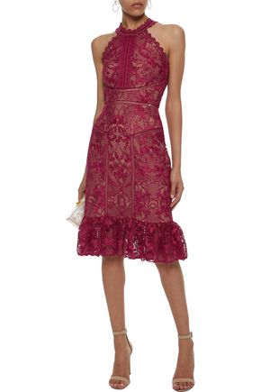 f86559d7c69de MARCHESA NOTTE Scalloped velvet-trimmed guipure lace dress