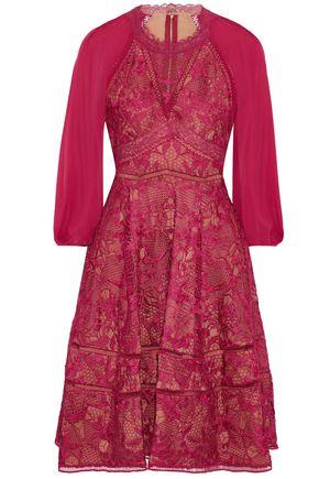 MARCHESA NOTTE Cutout chiffon-paneled guipure lace dress